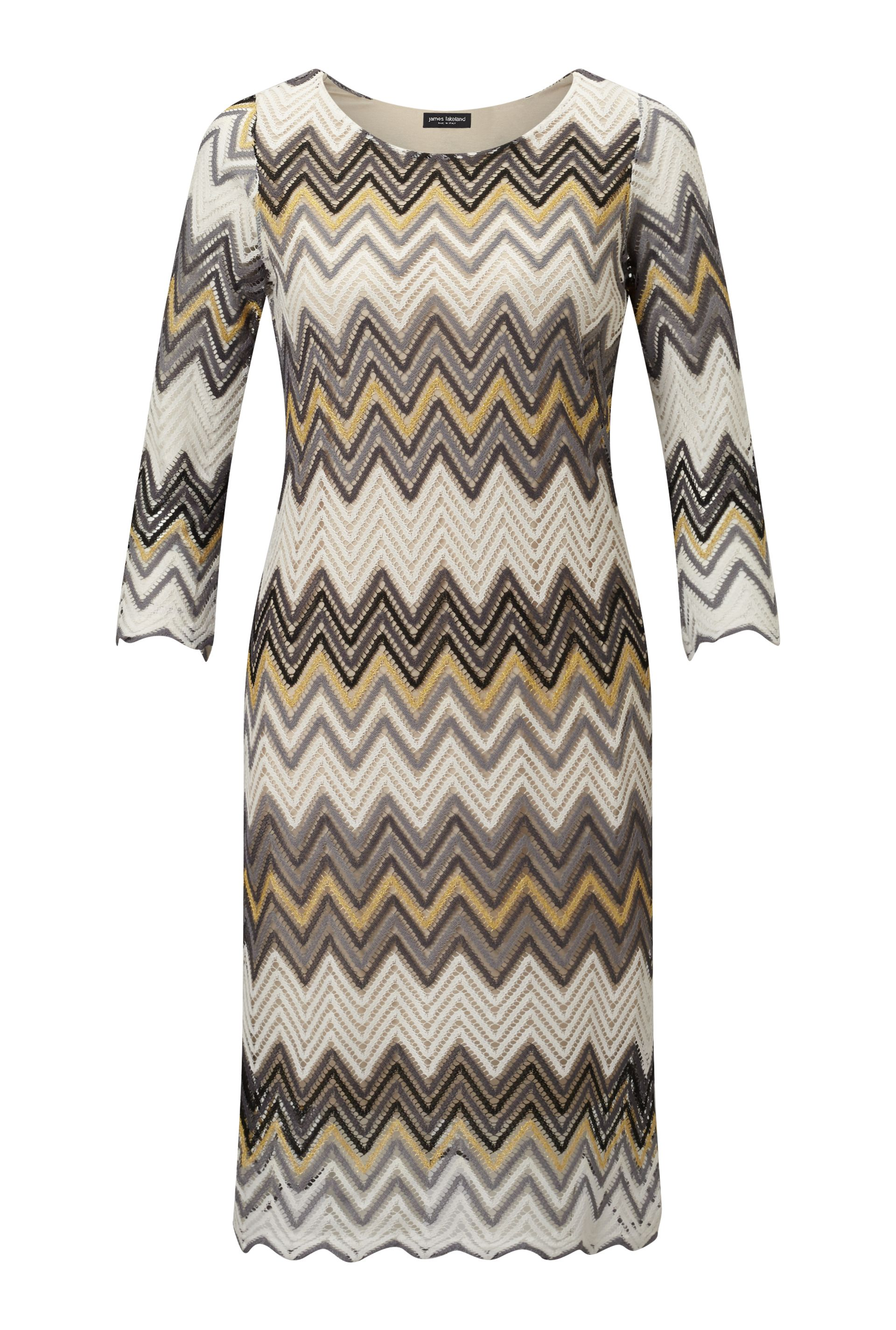 James Lakeland Zig Zag Lace Dress, Gold Silverlic