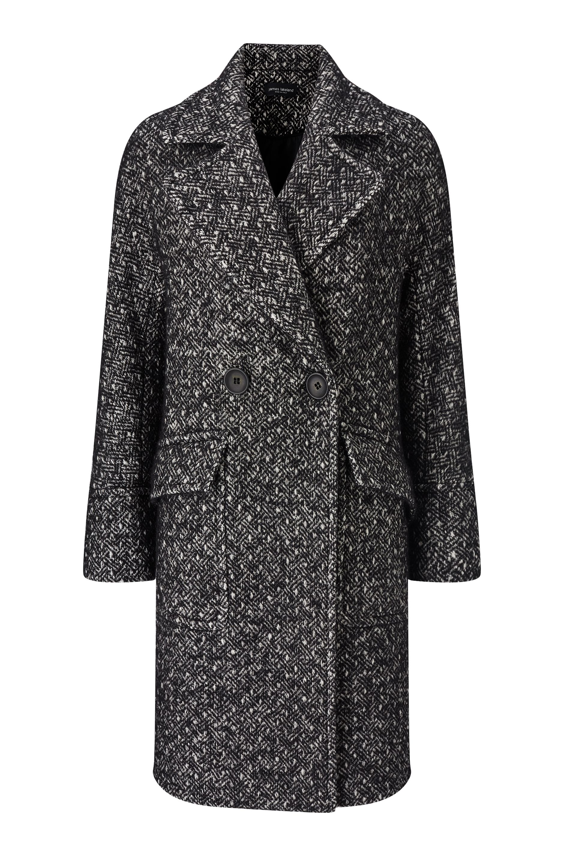 James Lakeland Double Breasted Drop Shoulder Coat, Black