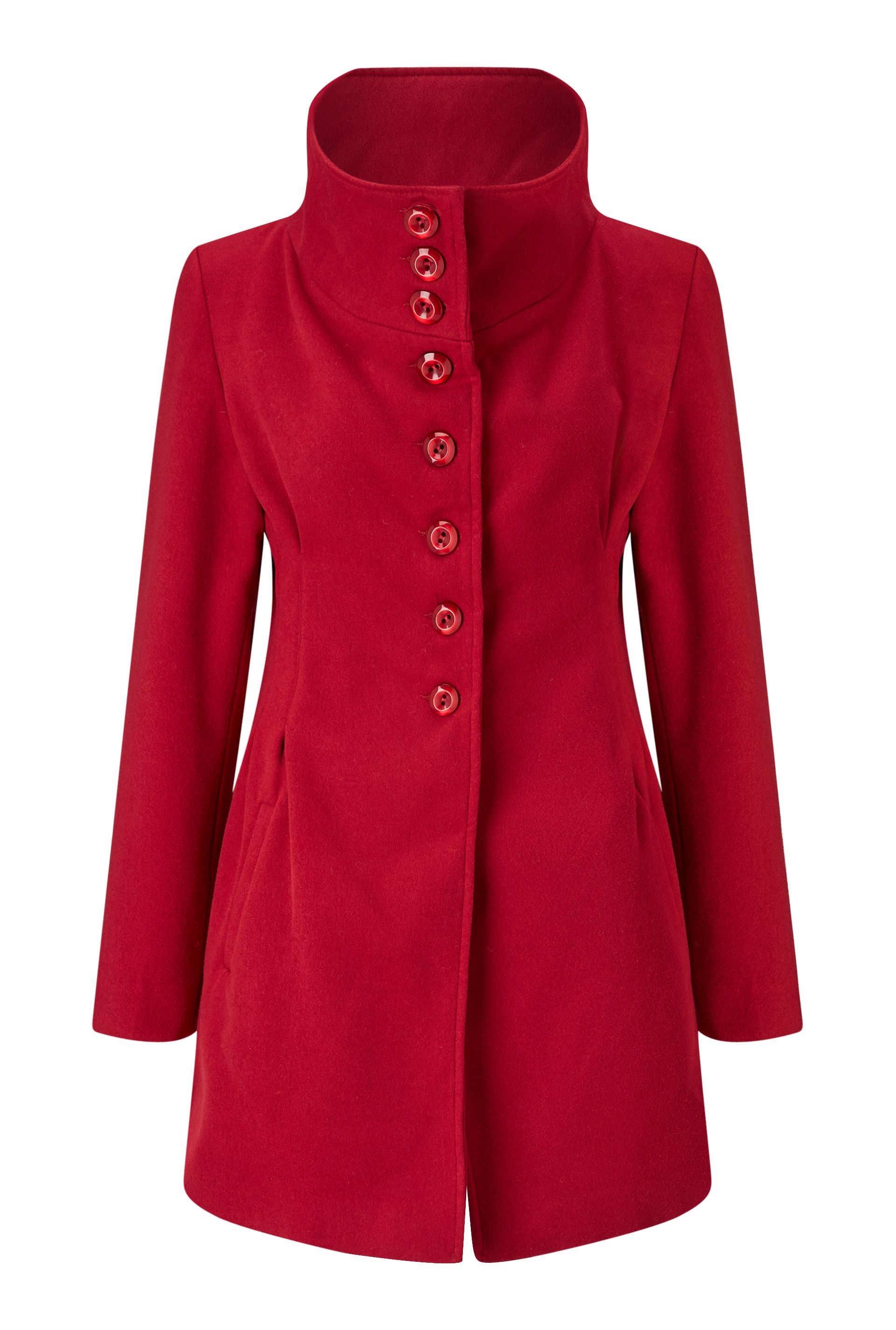 James Lakeland High Collar Coat, Red