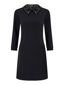 Dress With Embellished Collar