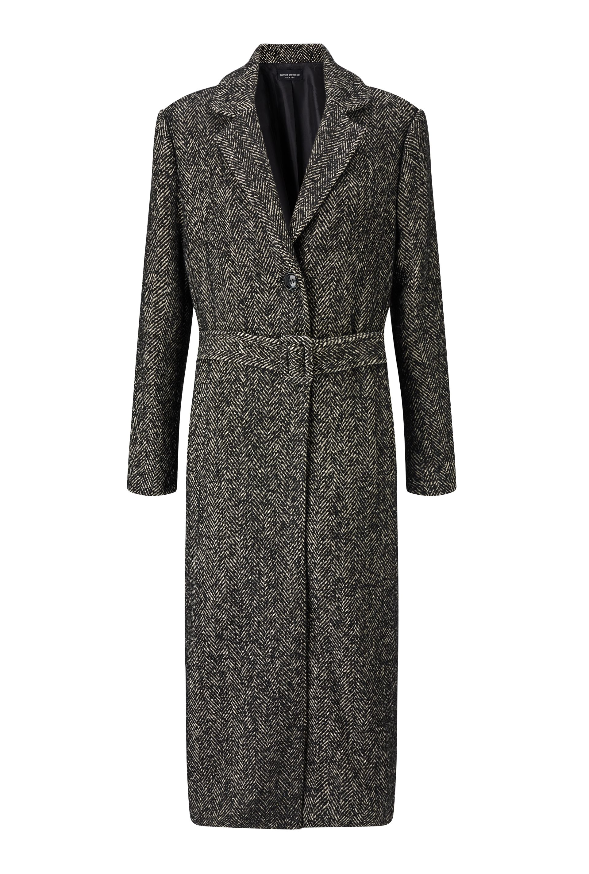 James Lakeland Long Salt And Pepper Coat, White