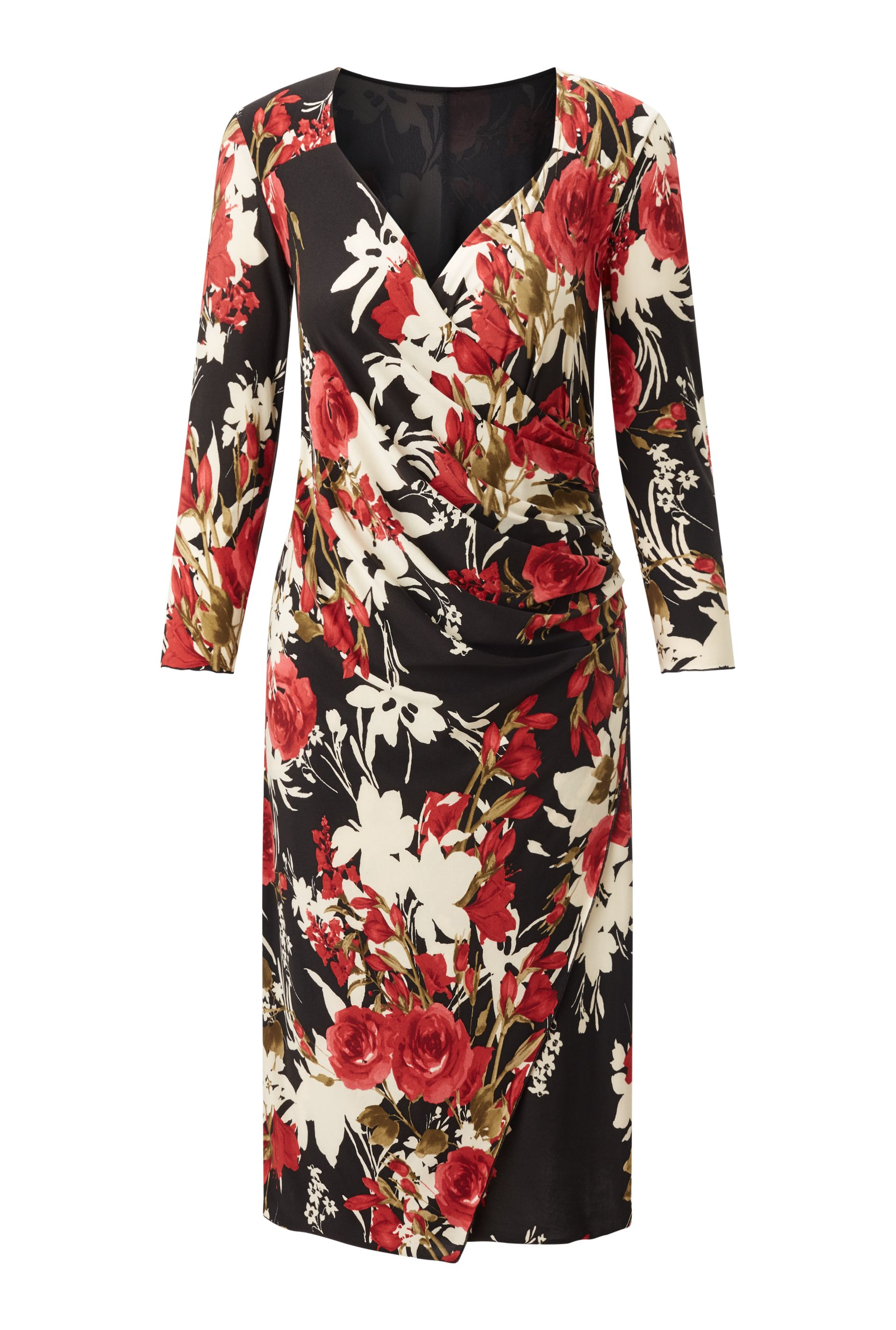 James Lakeland Rose Print Dress, Black/White