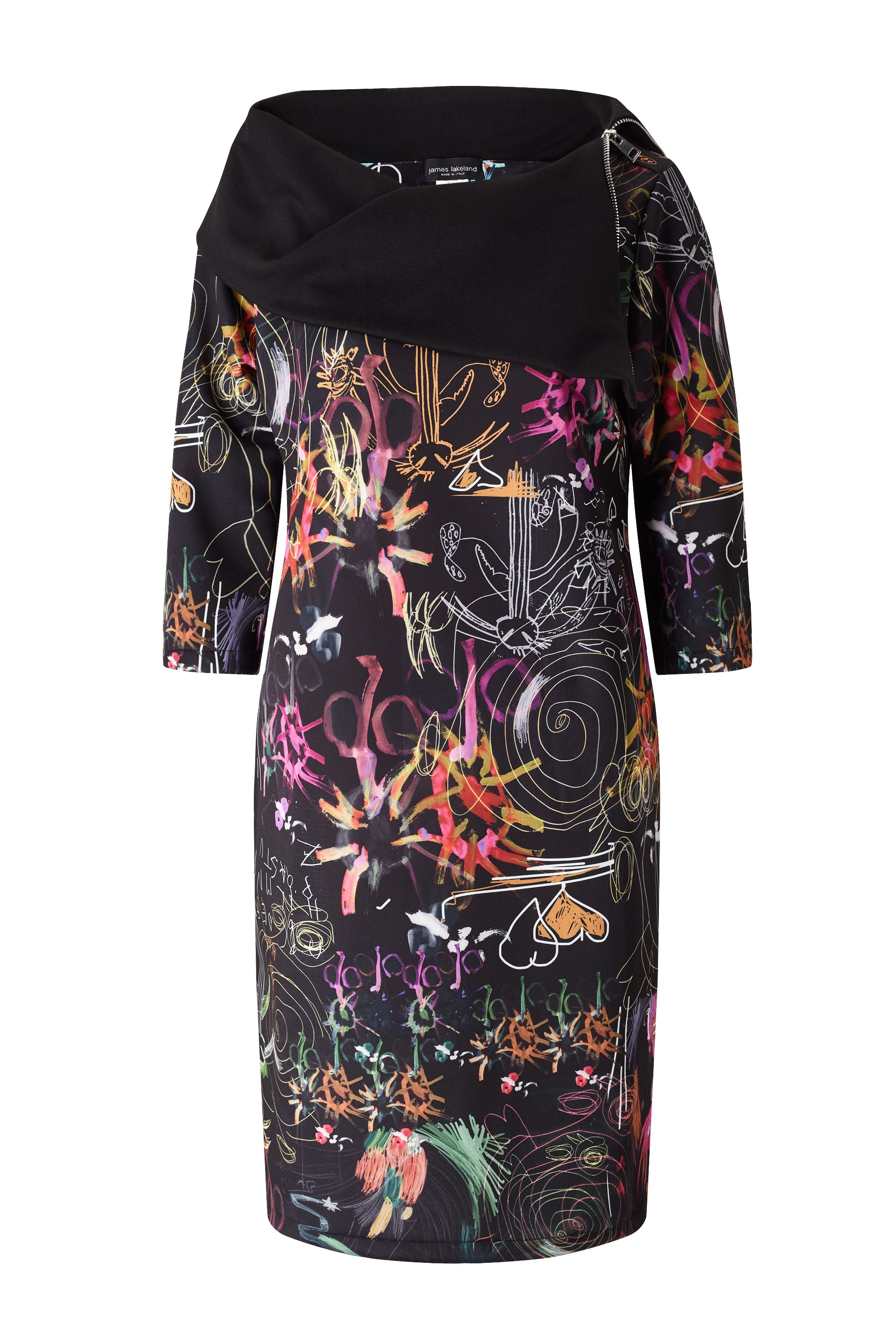 James Lakeland Printed Zip Neck Dress, Multi-Coloured