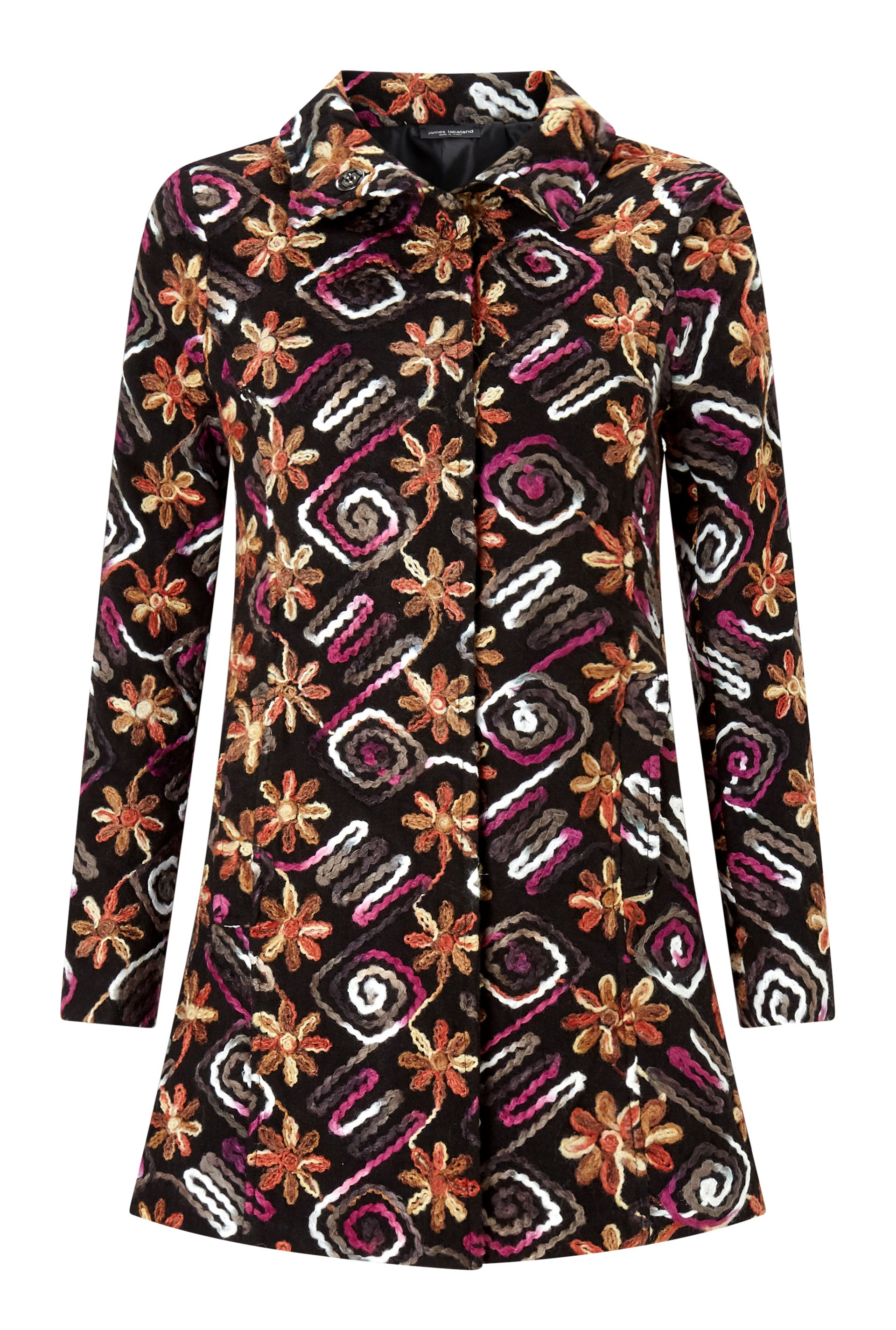 James Lakeland Multi Flower Coat, Black