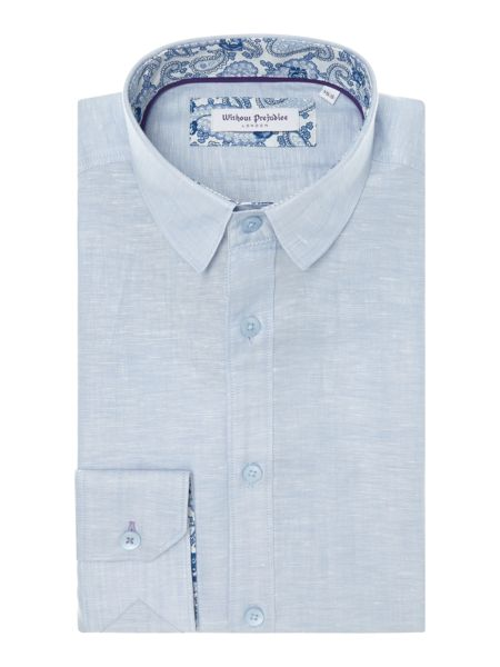 Without Prejudice Plain Tailored Fit Button Down Shirt
