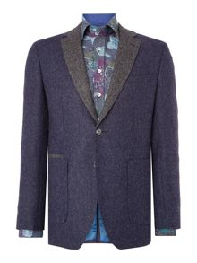 Without Prejudice Navy Herringbone Tweed Blazer