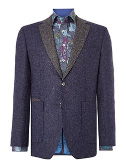 Navy Herringbone Tweed Blazer