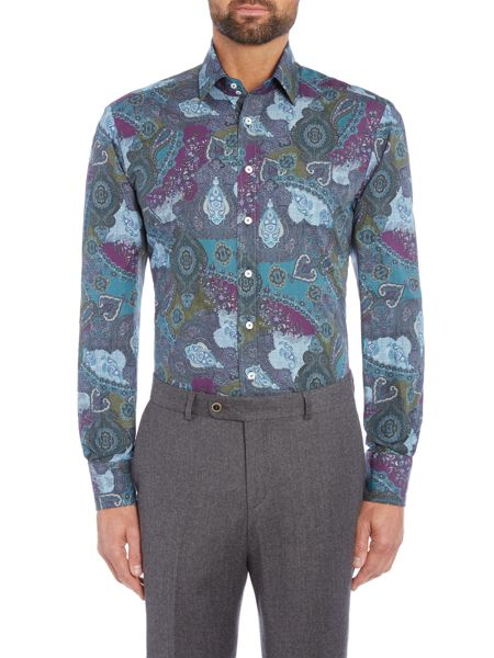 Without Prejudice Teal paisley casual shirt