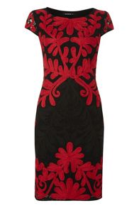 Roman Originals Lace Contrast Embroidery Dress