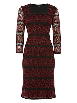 Lace Overlay Contrast Dress