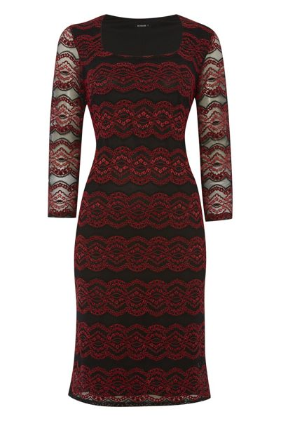 Roman Originals Lace Overlay Contrast Dress