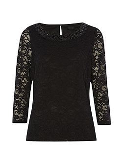 Embellished Neck Lace Top