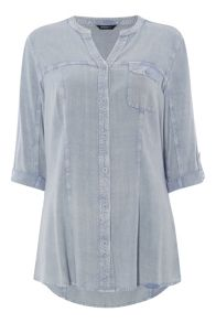 Roman Originals Notch Neck Denim Blouse