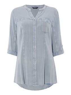 Notch Neck Denim Blouse