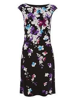 Round Neck Floral Jersey Dress