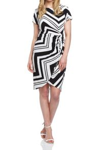 Roman Originals Zig Zag Jersey Wrap Dress