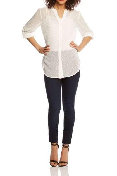 Roman Originals V Neck Textured Blouse