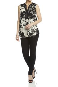 Roman Originals Floral Printed Zip Top