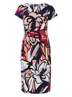 Abstract Floral Jersey Dress