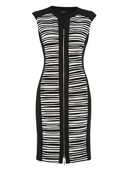 Zip Front Contrast Panel Dress