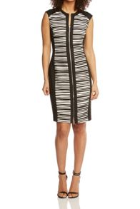 Roman Originals Zip Front Contrast Panel Dress