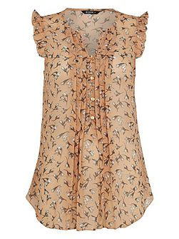 Floral Pleated Front Top
