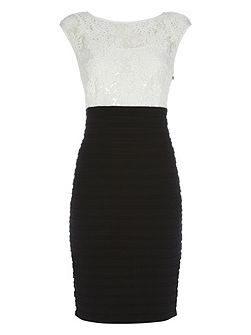 Contrast Pleat and Lace Dress