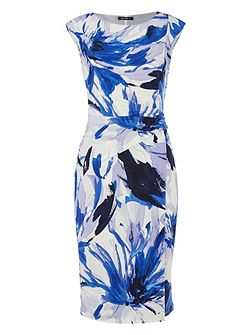 Abstract Underwater Floral Print Dress