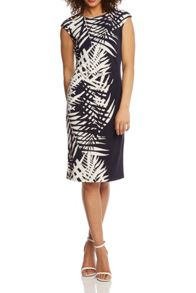 Roman Originals Leaf Print Border Jersey Stretch Dress