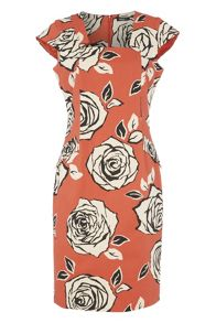 Roman Originals Cotton Mix Floral Rose Print Dress