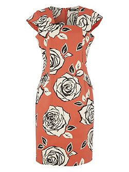 Cotton Mix Floral Rose Print Dress