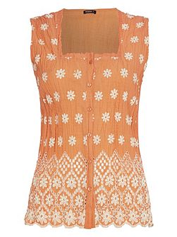 Cotton Embroidered Scallop Hem Blouse