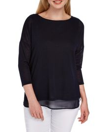 Roman Originals Double Layer Knit Look Top