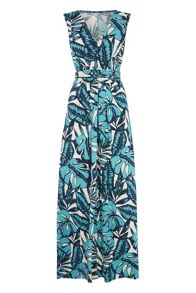 Roman Originals Leaf Print Jersey Maxi Dress