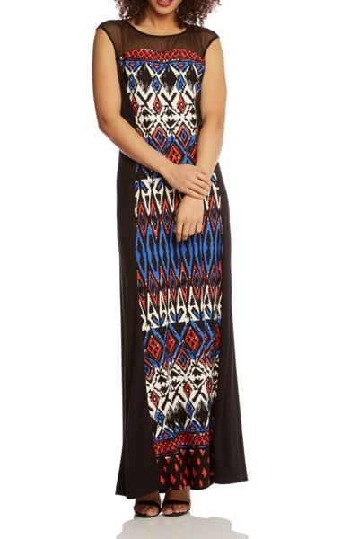 Roman Originals Tribal Print Jersey Panelled Maxi Dress