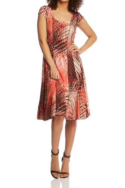 Roman Originals Tropical Print Multi Panel Dress