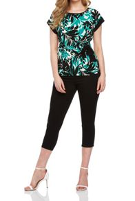 Roman Originals Leaf Print Side Detail Top
