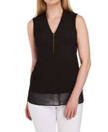 Roman Originals Jersey and Chiffon Drop Necklace Top