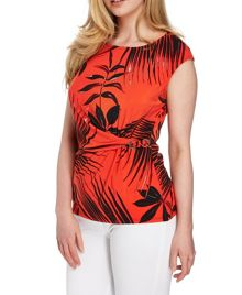 Roman Originals Tropical Print Side Detail Top