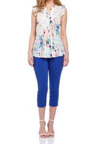 Roman Originals Floral Printed Frill Sleeve Top