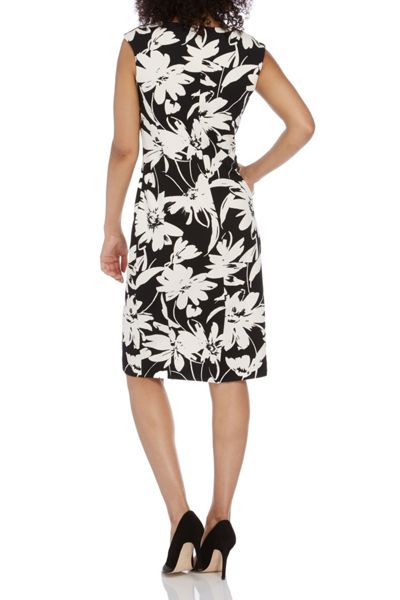 Roman Originals Textured Floral Neck Trim Dress