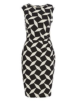 Monochrome Crepe Contrast Dress