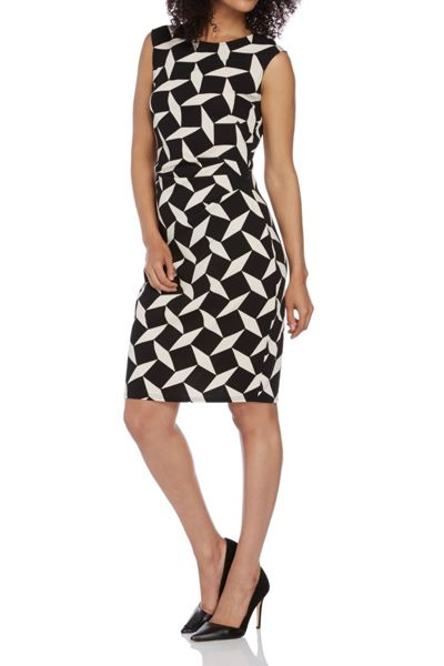 Roman Originals Monochrome Crepe Contrast Dress