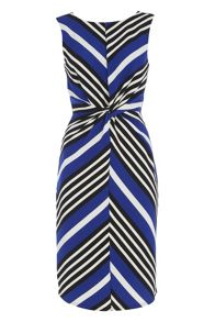 Roman Originals Chevron Stripe Knot Waist Dress