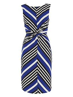 Chevron Stripe Knot Waist Dress