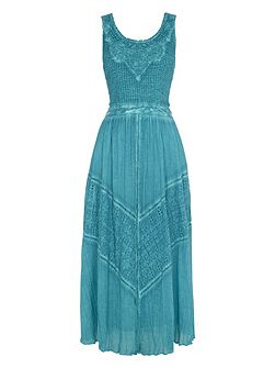 Cotton Crinkle Embroidered Maxi Dress
