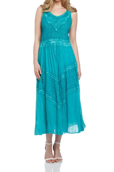 Roman Originals Cotton Crinkle Embroidered Maxi Dress