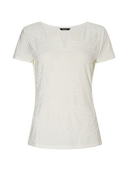 Notch Neck Textured T-Shirt