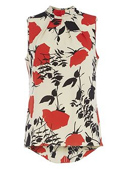 High Neck Sleeveless Floral Print