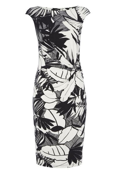 Roman Originals Monochrome Floral Print Jersey Dress